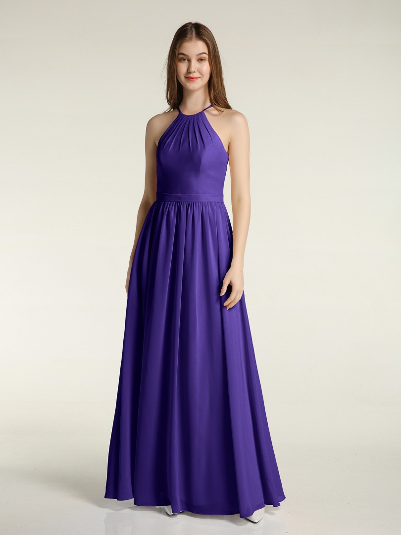 A-line Chiffon Regency Zipper Ruffle, Ruched Floor-length Halter Sleeveless Long Bridesmaid Dresses