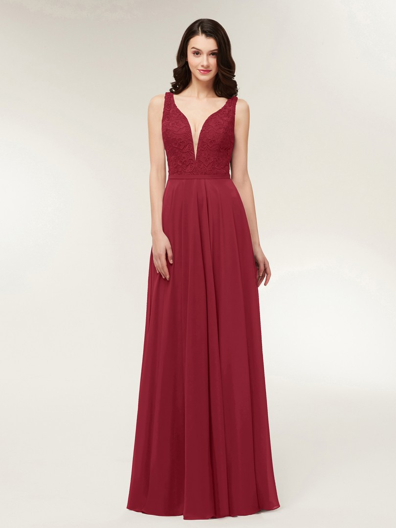 A-line Chiffon Dark Navy Zipper Lace, Ruched Floor-length V-neck Straps Bridesmaid Dresses