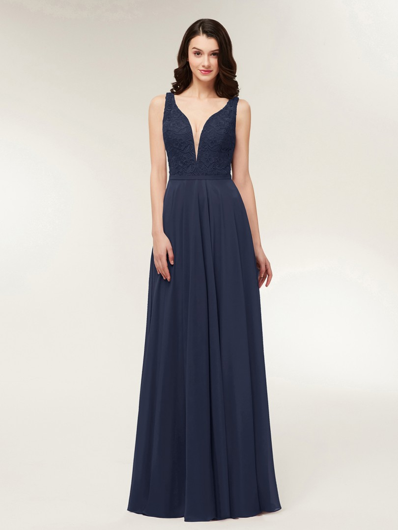 A-line Chiffon Dark Navy Zipper Lace, Ruched Floor-length V-neck Straps Chiffon Bridesmaid Dresses