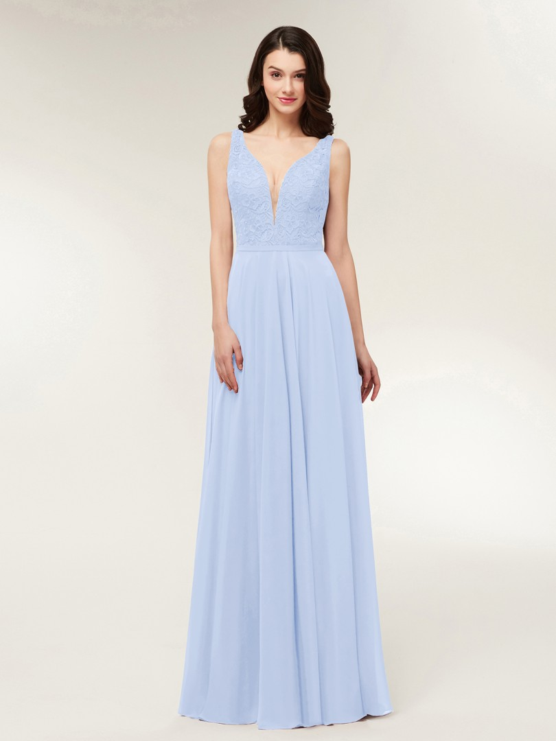 A-line Chiffon Dark Navy Zipper Lace, Ruched Floor-length V-neck Straps Long Bridesmaid Dresses