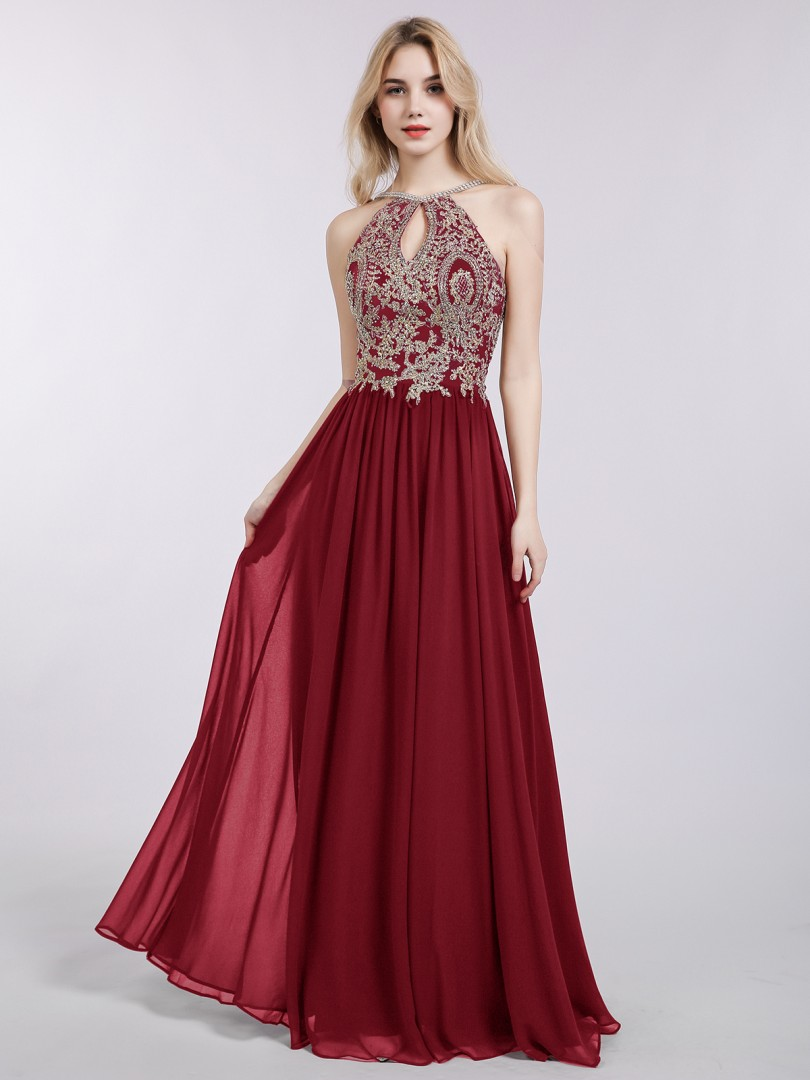 A-line Chiffon Burgundy Zipper  Floor-length Halter Sleeveless Prom Dresses