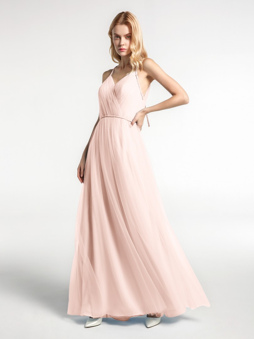 A-line Tulle Moss Zipper Floor-length V-neck Spaghetti Straps New Arrivals
