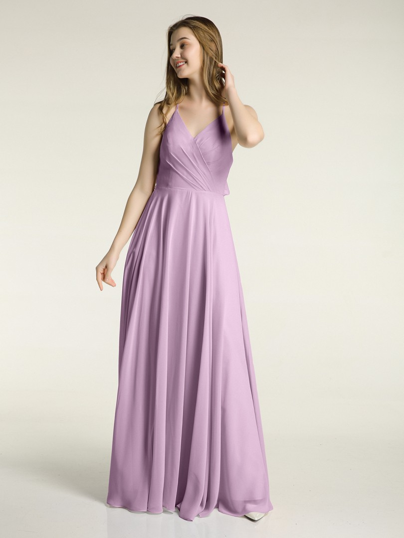A-line Chiffon Wisteria Zipper Ruffle, Ruched Floor-length V-neck Spaghetti Straps New Arrivals