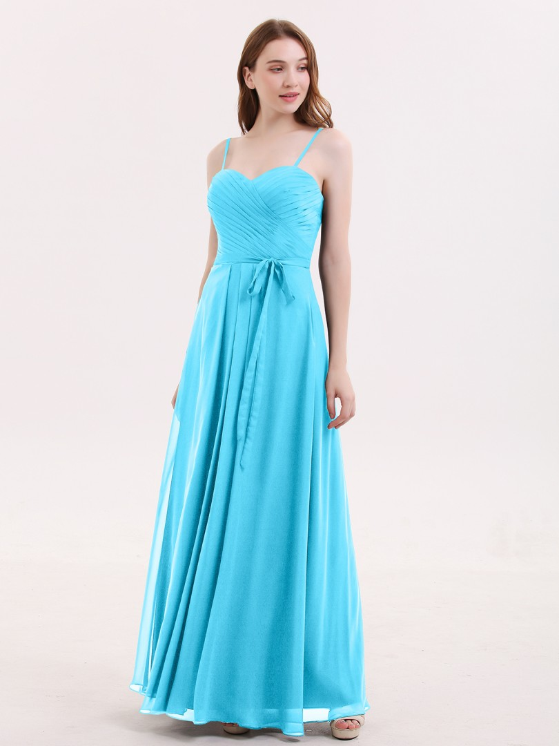 A-line Chiffon Dark Navy Zipper Sashes/Ribbons, Pleated Floor-length Sweetheart Spaghetti Straps Long Bridesmaid Dresses