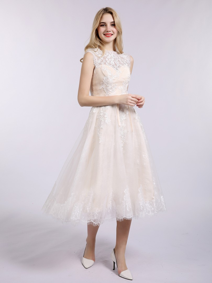 A-line Lace Champagne Zipper Appliqued Tea-length Bateau Sleeveless Lace Wedding Dresses