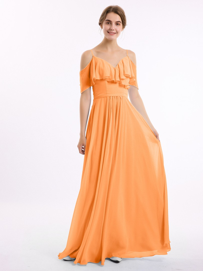 A-line Chiffon Chocolate Zipper Belt, Ruffle, Ruched Floor-length Off-the-shoulder Spaghetti Straps New Arrivals