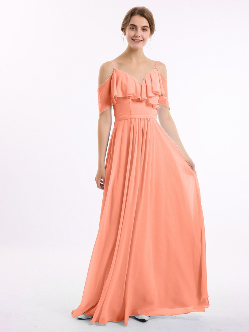 A-line Chiffon Chocolate Zipper Belt, Ruffle, Ruched Floor-length Off-the-shoulder Spaghetti Straps Long Bridesmaid Dresses