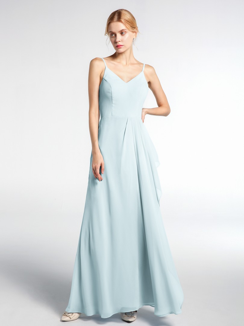 A-line Chiffon Mist Zipper Ruched Floor-length V-neck Spaghetti Straps New Arrivals