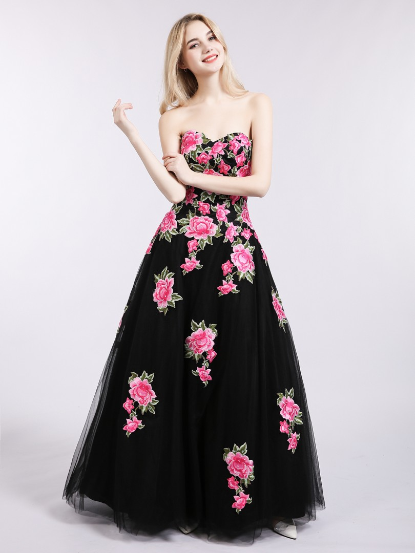A-line Tulle Black Lace-up Appliqued Floor-length Sweetheart Sleeveless New Arrivals
