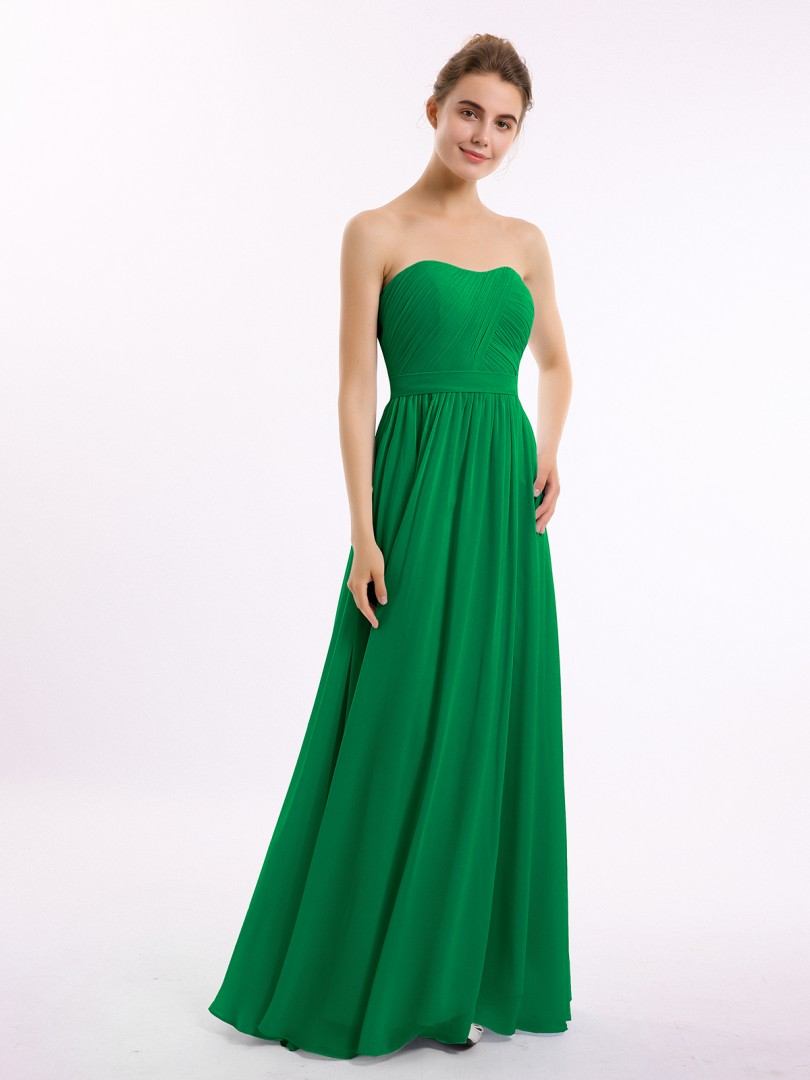 A-line Chiffon Emerald Zipper Ruched, Pleated Floor-length Sweetheart Sleeveless Long Bridesmaid Dresses