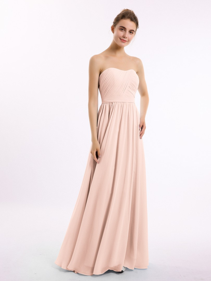 A-line Chiffon Emerald Zipper Ruched, Pleated Floor-length Sweetheart Sleeveless New Arrivals