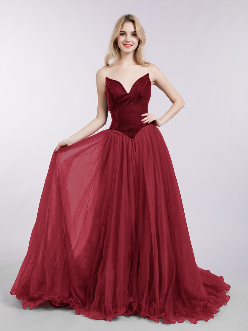 A-line Tulle Burgundy Zipper  Sweep/Brush Train Sweetheart Sleeveless Prom Dresses