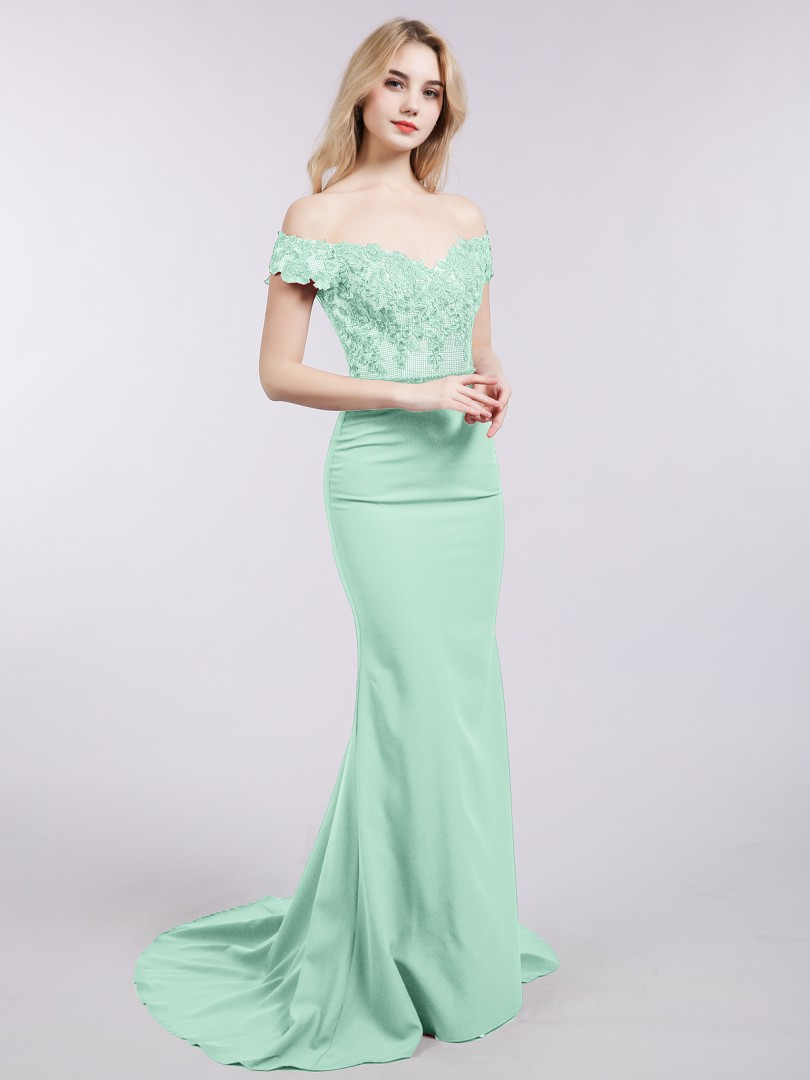 4ae5a4111322 Mint Green Nora Off Shoulder Mermaid Gown with Train