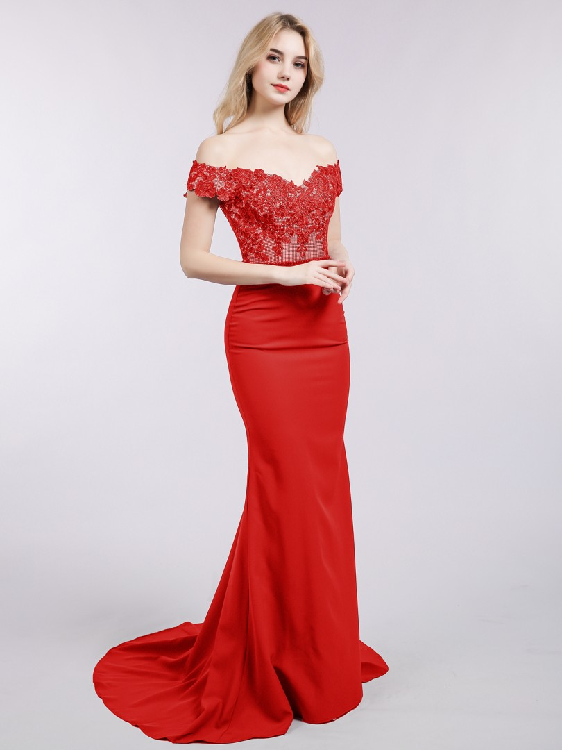 Trumpet/Mermaid Satin Red Zipper Appliqued, Beaded Sweep/Brush Train Off-the-shoulder Short Prom Dresses
