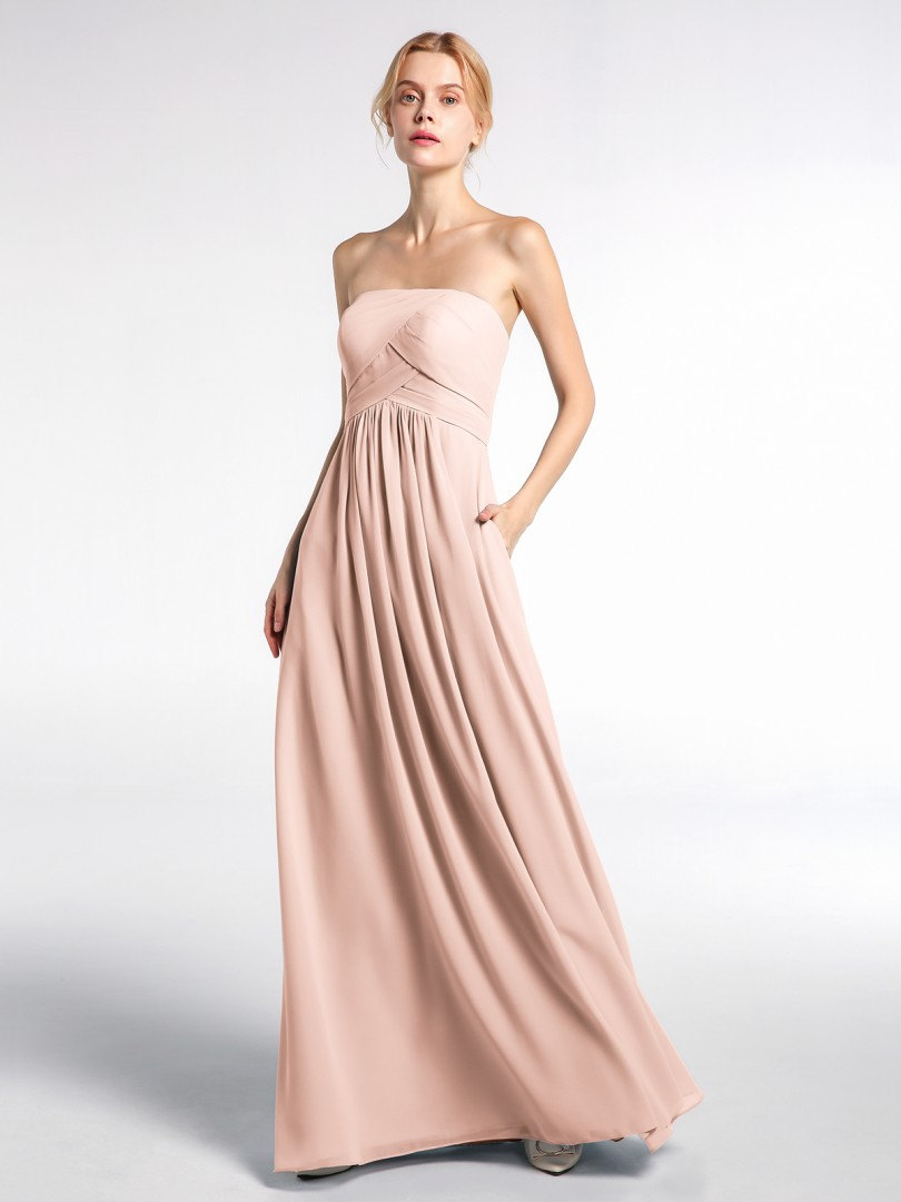 Empire Chiffon Dusty Rose Zipper  Floor-length Strapless Sleeveless New Arrivals