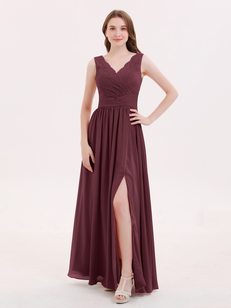A-line Chiffon Dusty Rose Zipper Pleated Floor-length V-neck Sleeveless Sexy Prom Dresses