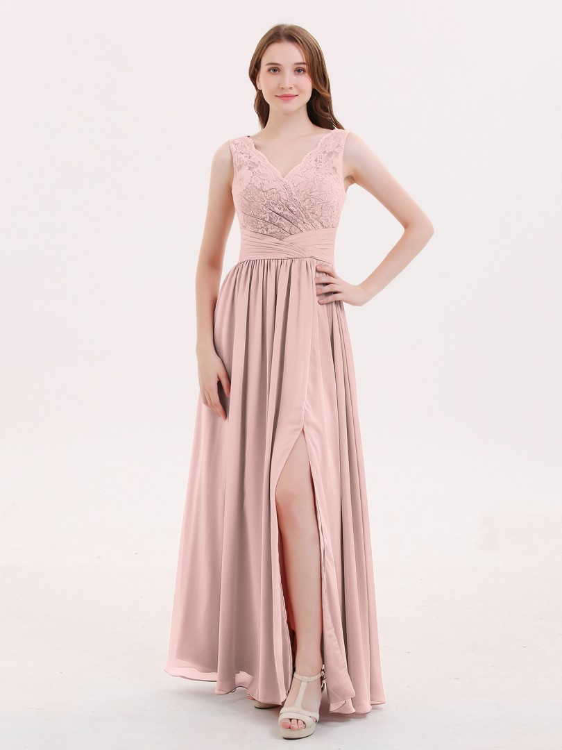 A-line Chiffon Dusty Rose Zipper Pleated Floor-length V-neck Sleeveless Long Bridesmaid Dresses