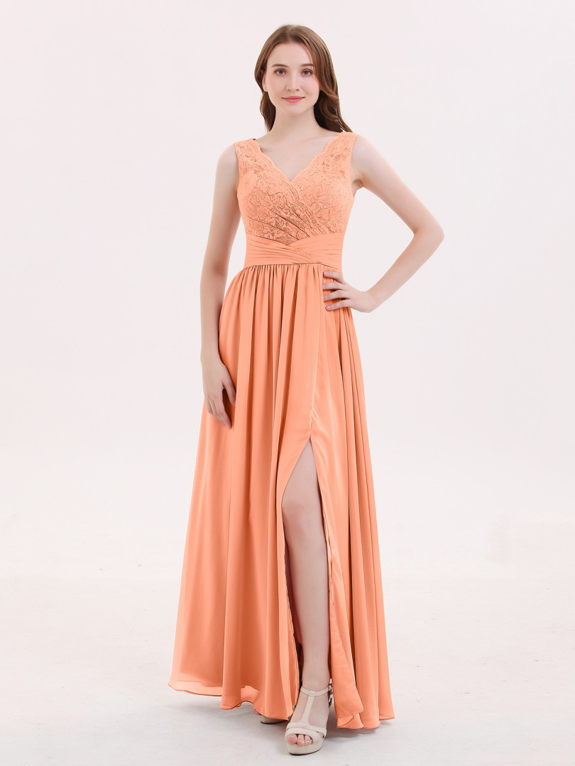 737ccaf4d60 A-line Chiffon Dusty Rose Zipper Pleated Floor-length V-neck Sleeveless  Bridesmaid