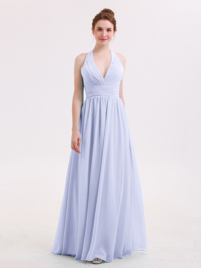 a3ac7bc7f968 A-line Chiffon Pool Zipper Ruched, Pleated Floor-length Halter Sleeveless  Long Bridesmaid