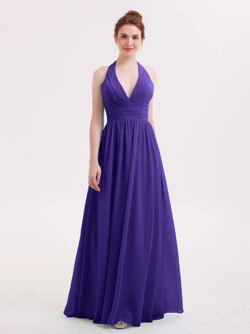 A-line Chiffon Pool Zipper Ruched, Pleated Floor-length Halter Sleeveless Long Bridesmaid Dresses