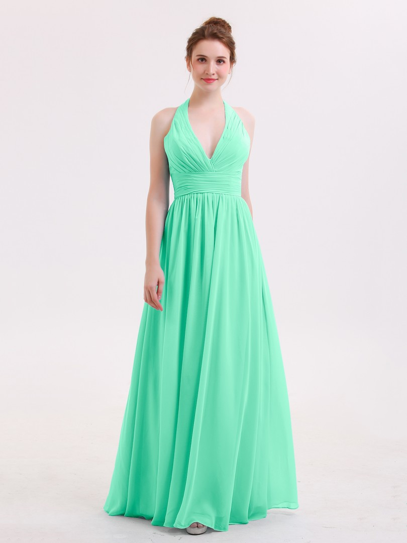 A-line Chiffon Pool Zipper Ruched, Pleated Floor-length Halter Sleeveless Bridesmaid Dresses