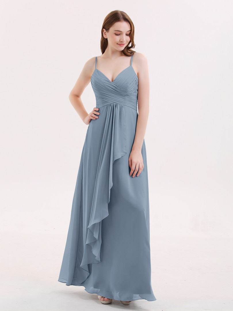 Empire Chiffon Dusty Blue Zipper Ruched, Pleated Floor-length V-neck Spaghetti Straps Chiffon Bridesmaid Dresses