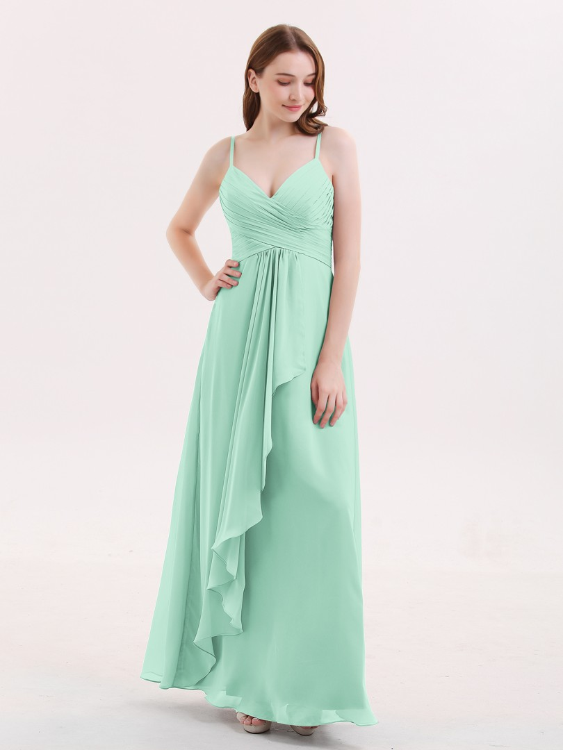 Empire Chiffon Dusty Blue Zipper Ruched, Pleated Floor-length V-neck Spaghetti Straps New Arrivals