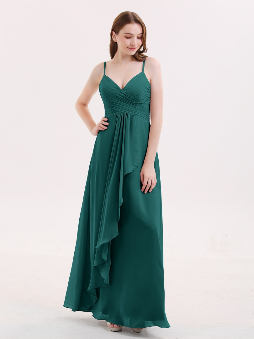 Empire Chiffon Dusty Blue Zipper Ruched, Pleated Floor-length V-neck Spaghetti Straps Long Bridesmaid Dresses