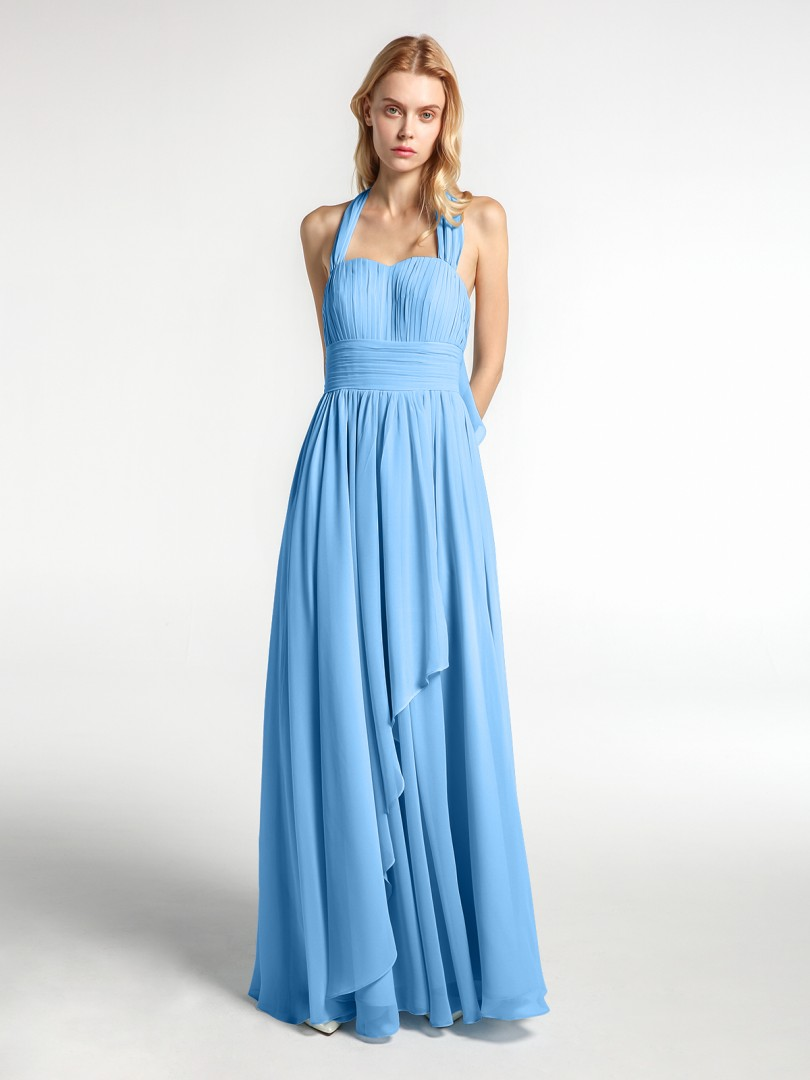 A-line Chiffon Blue Zipper Bow, Ruched, Pleated Floor-length Halter Sleeveless Long Bridesmaid Dresses