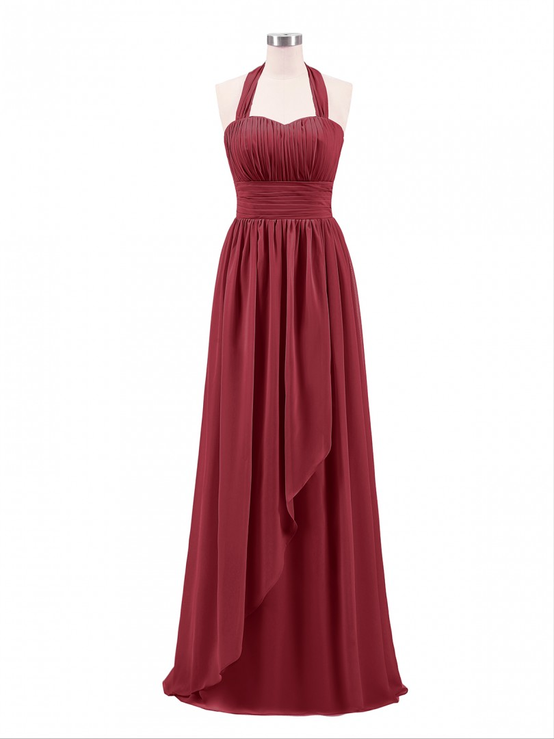 A-line Chiffon Lilac Zipper Bow, Ruched, Pleated Floor-length Halter Sleeveless Long Bridesmaid Dresses
