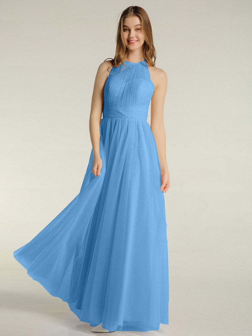 A-line Tulle Lilac Zipper Ruched, Pleated Floor-length Illusion Sleeveless New Arrivals