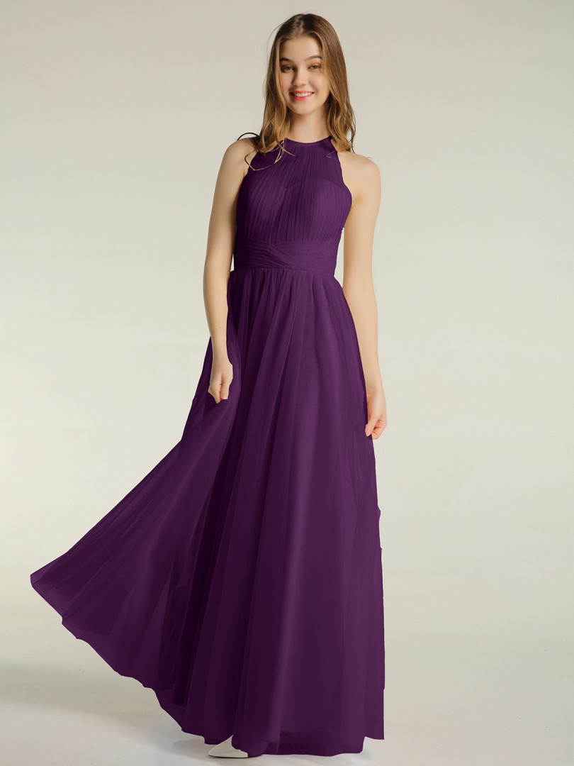 A-line Tulle Lilac Zipper Ruched, Pleated Floor-length Illusion Sleeveless Tulle Bridesmaid Dresses