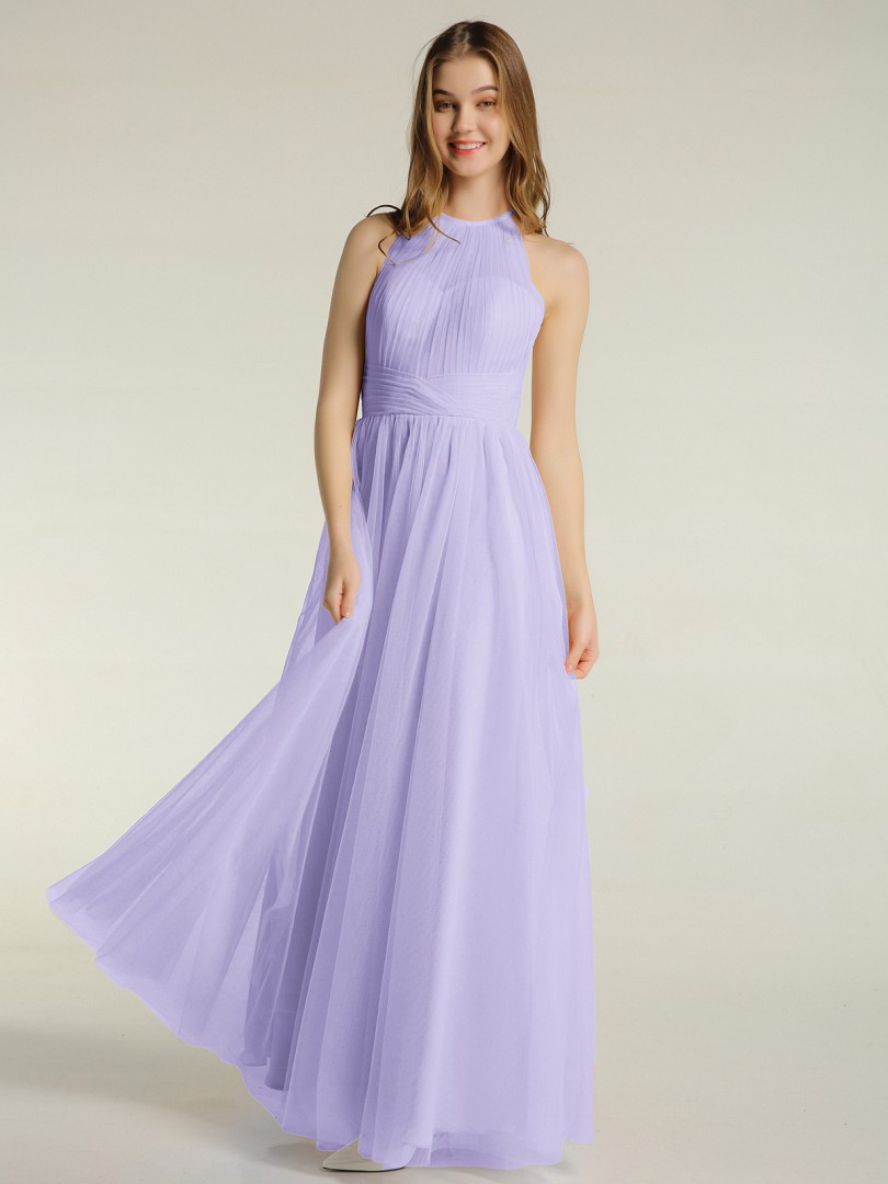 A-line Tulle Lilac Zipper Ruched, Pleated Floor-length Illusion Sleeveless Bridesmaid Dresses