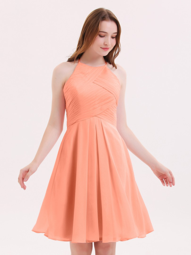 A-line Chiffon Azalea Zipper Pleated Knee-length Halter Sleeveless Short Bridesmaid Dresses