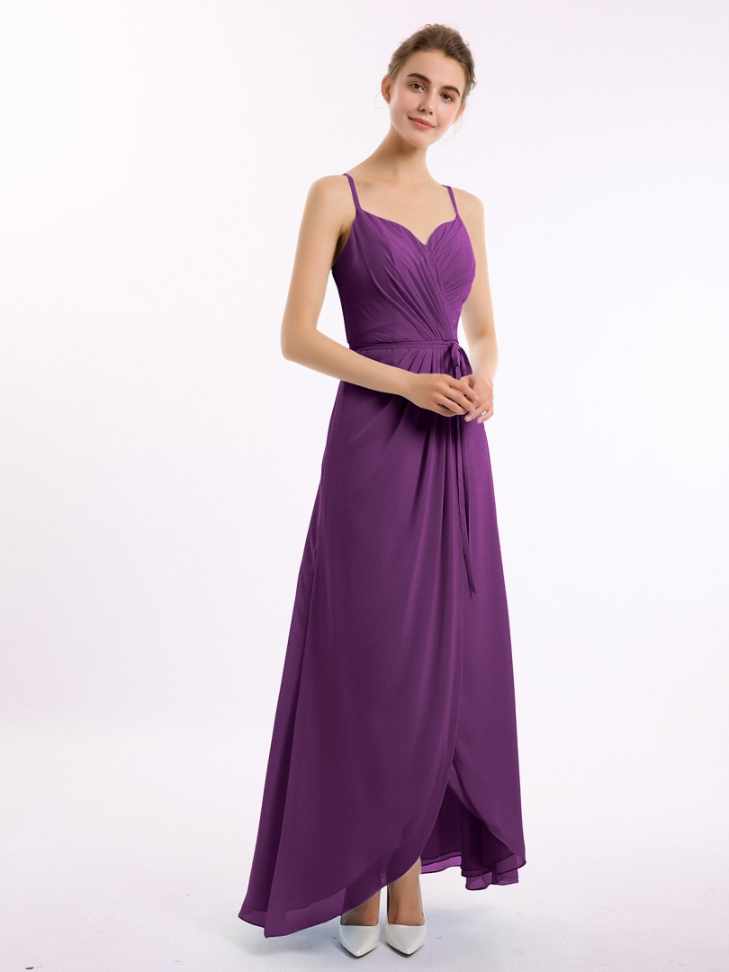 A-line Chiffon Wisteria Backless Belt, Ruched Asymmetrical V-neck Straps Long Bridesmaid Dresses