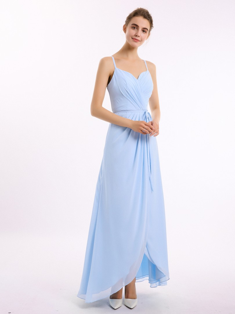 A-line Chiffon Wisteria Backless Belt, Ruched Asymmetrical V-neck Straps New Arrivals