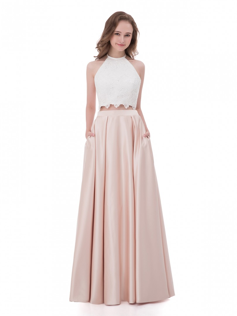 A-line Satin Pearl Pink Zipper  Floor-length Halter Sleeveless Long Prom Dresses