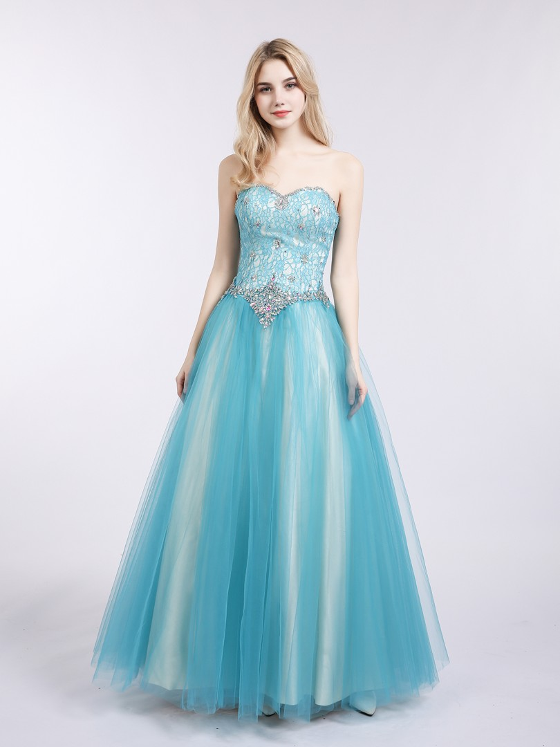 A-line Tulle Spa Lace-up Beaded, Rhinestone Floor-length Sweetheart Sleeveless Prom Dresses