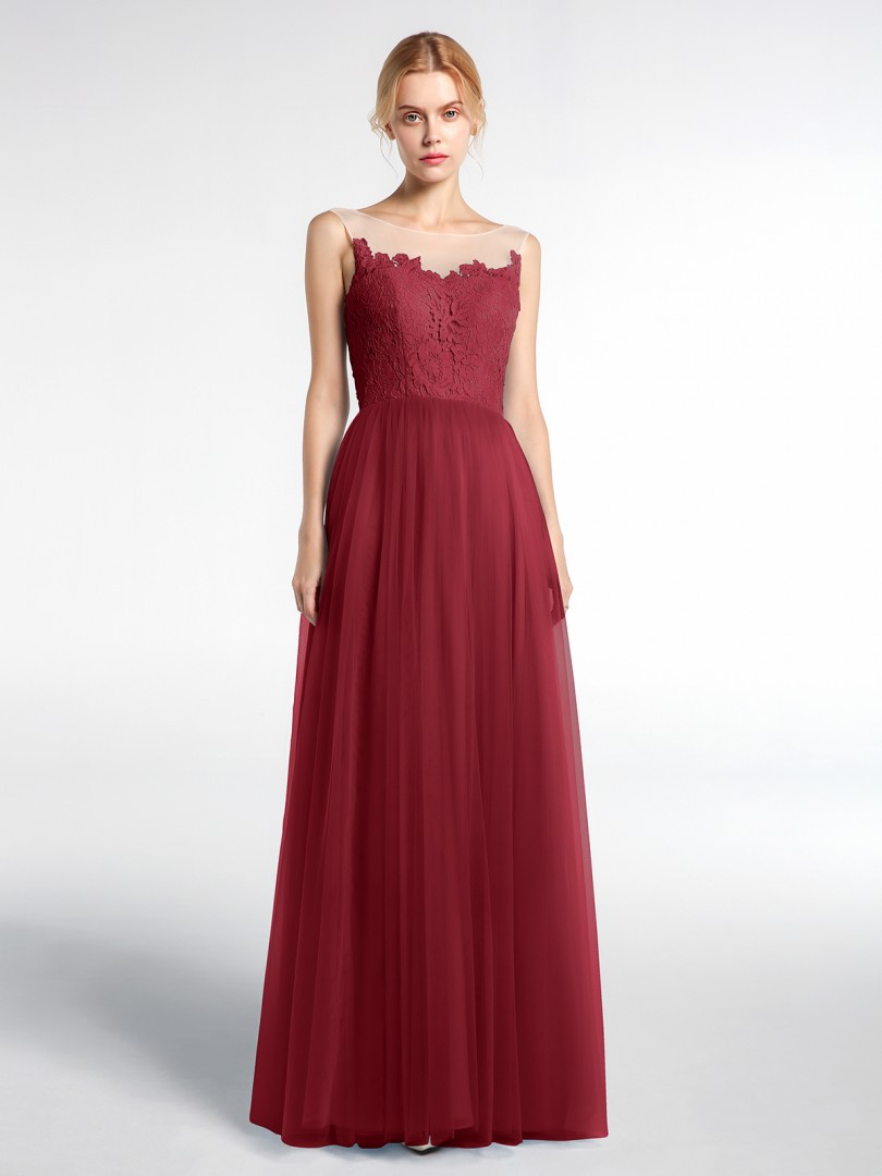 A-line No Burgundy Zipper Appliqued Floor-length Illusion Sleeveless Bridesmaid Dresses