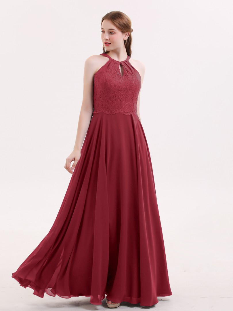 A-line Chiffon Burgundy Zipper Lace, Ruched Floor-length Halter Sleeveless Chiffon Bridesmaid Dresses
