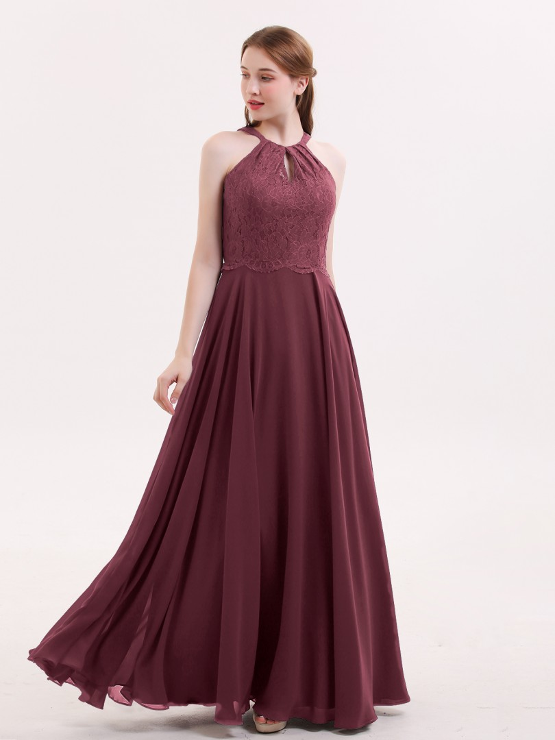 A-line Chiffon Burgundy Zipper Lace, Ruched Floor-length Halter Sleeveless Long Bridesmaid Dresses
