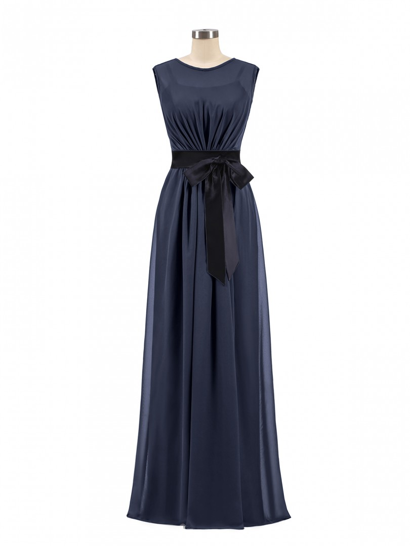 A-line Chiffon Dark Navy Zipper Bow, Ruched Floor-length Scoop Sleeveless Chiffon Bridesmaid Dresses