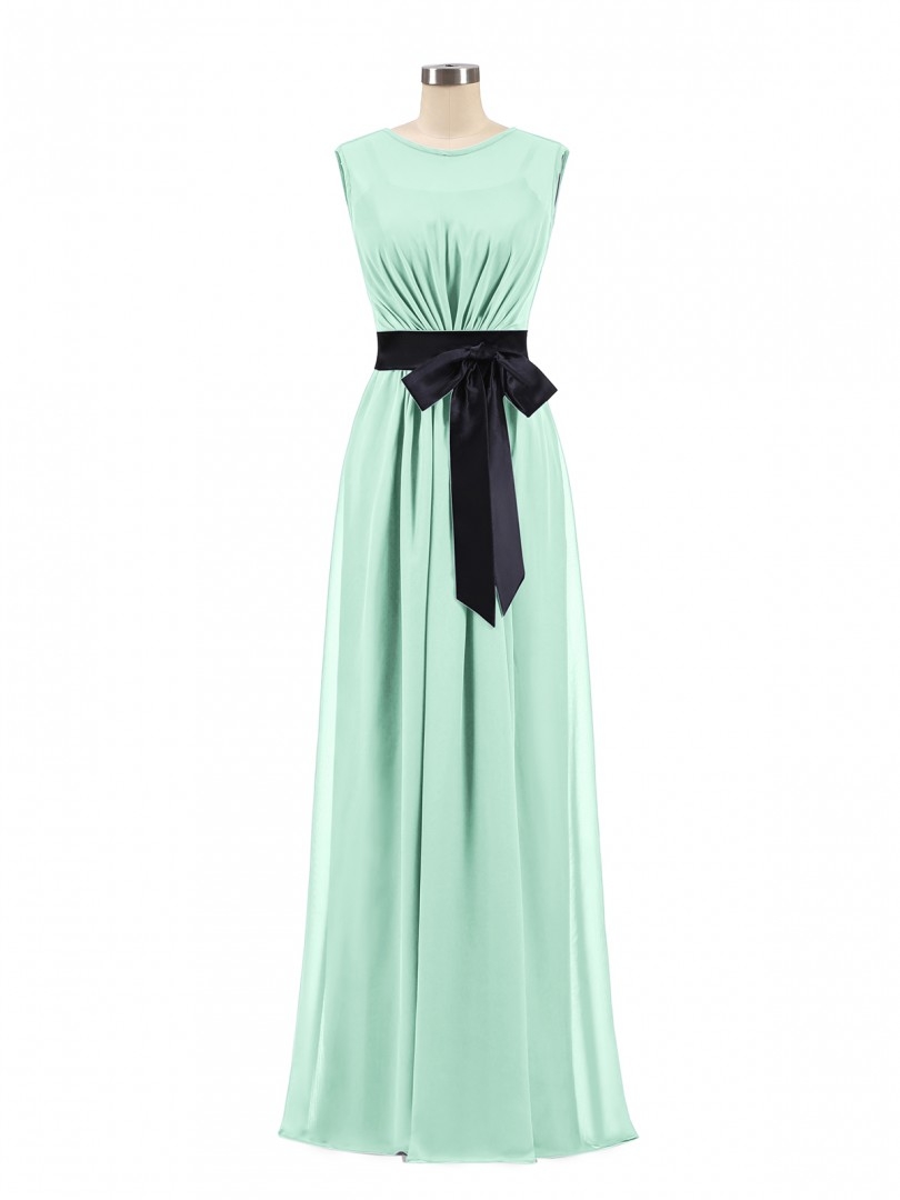 A-line Chiffon Dark Navy Zipper Bow, Ruched Floor-length Scoop Sleeveless Long Bridesmaid Dresses