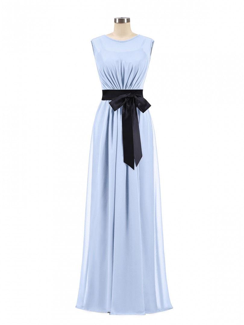 A-line Chiffon Dark Navy Zipper Bow, Ruched Floor-length Scoop Sleeveless Wedding Party