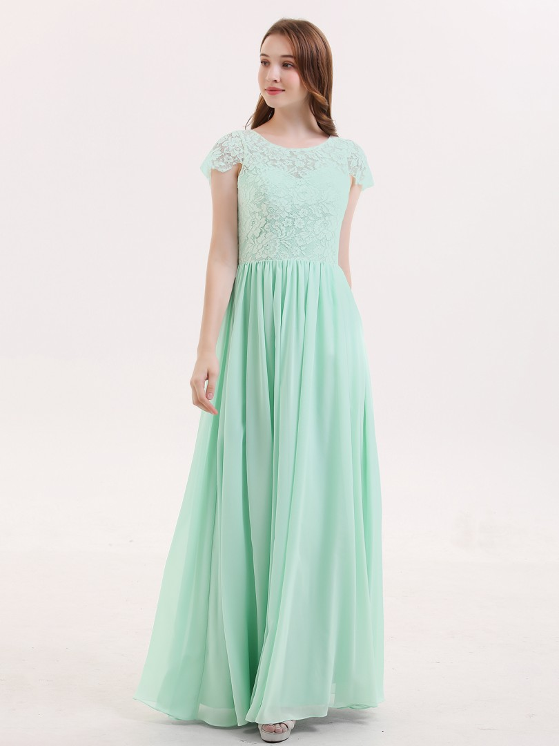 A-line Lace Mint Green Zipper Lace Floor-length Scoop Cap Sleeve Bridesmaid Dresses