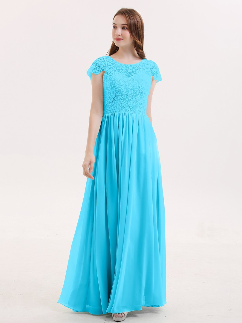 A-line Lace Mint Green Zipper Lace Floor-length Scoop Cap Sleeve Best Sellers