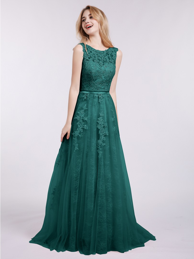 A-line Tulle Mint Green Backless Appliqued Sweep/Brush Train Scoop Sleeveless Prom Dresses