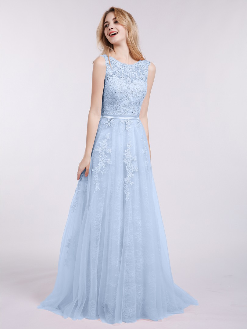 A-line Tulle Mint Green Backless Appliqued Sweep/Brush Train Scoop Sleeveless New Arrivals