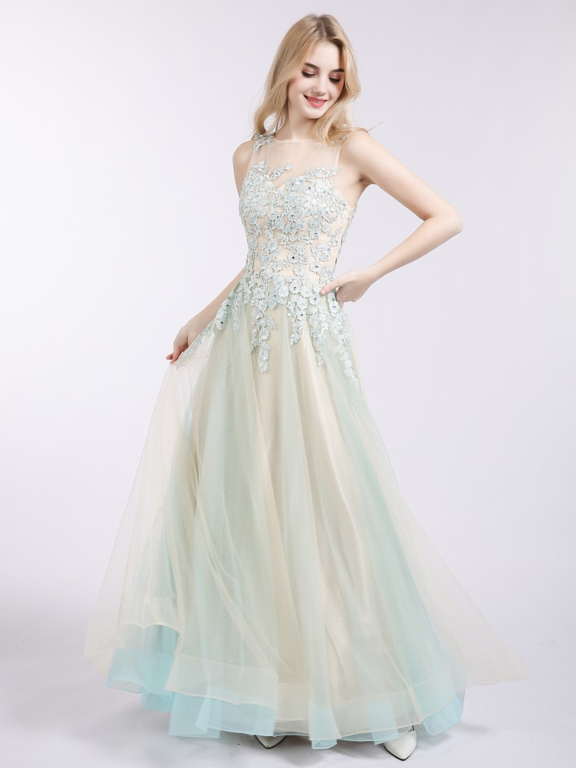 A-line Tulle Champagne Zipper Side Appliqued, Beaded Floor-length Bateau Sleeveless Prom Dresses