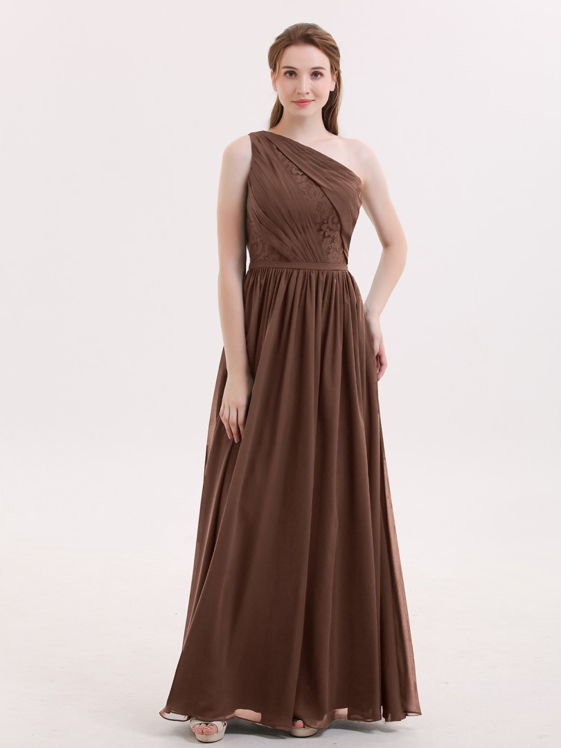 ab39e6e52371 Chocolate Phoenix One Shoulder Chiffon and Lace Bridesmaid Dress ...